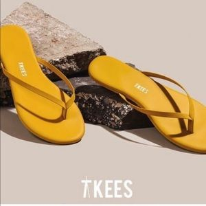 TKEES Leather Yellow Flip Flop Sandal